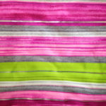 lime, purply-pink, grey and silver stripes